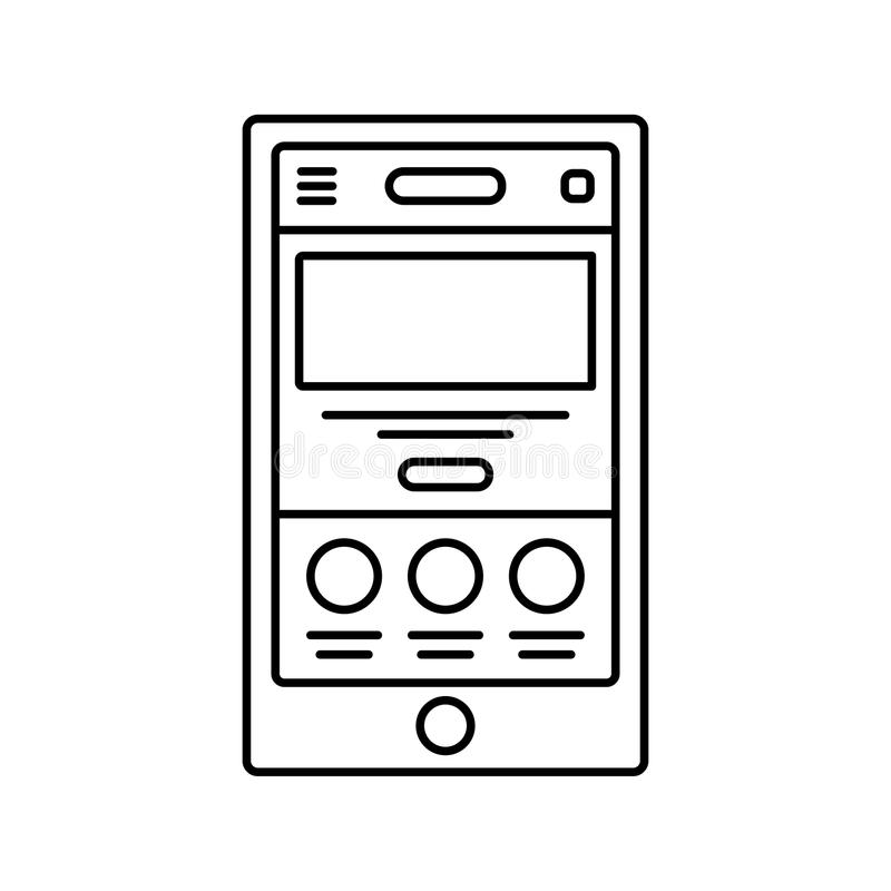 Mobile website wireframe lined icon. Touch device landing page line icon. User interface in browser window. Isolated royalty free illustration