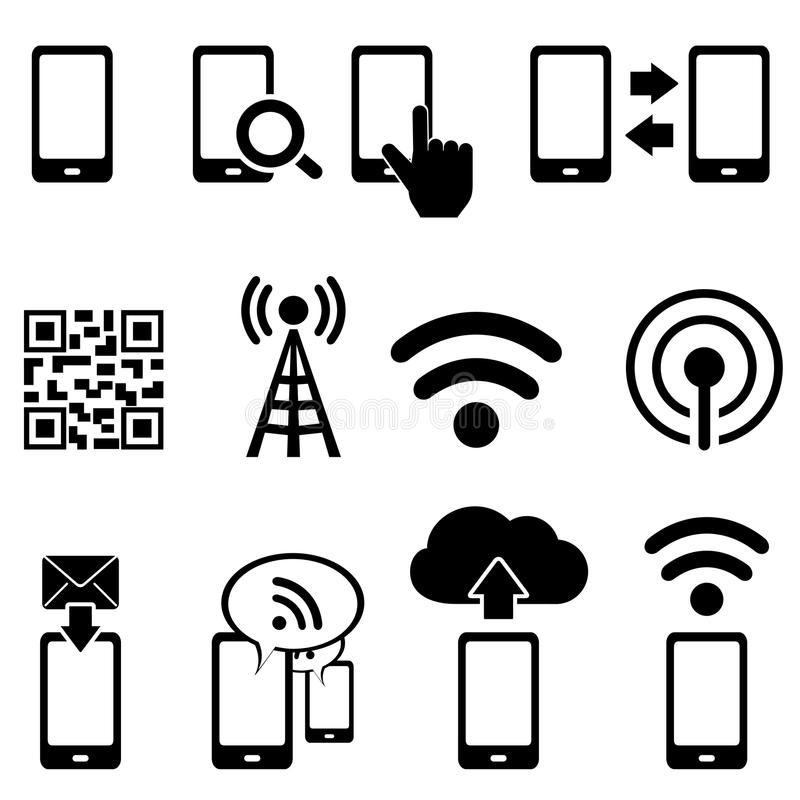 Mobile and wifi icon set royalty free illustration
