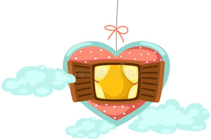 Mobile window of heart vector illustration