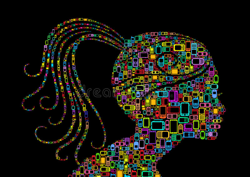 Download Mobile woman profile stock vector. Illustration of magenta - 26729761