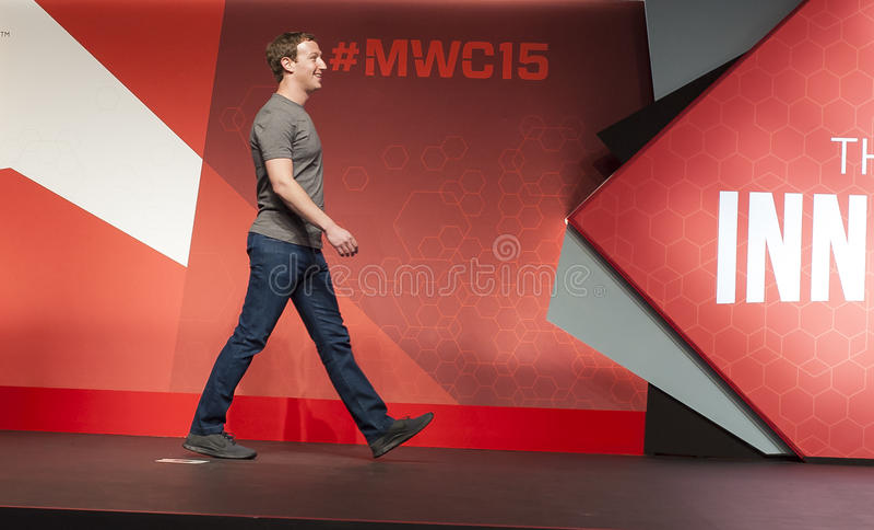 MOBILE WORLD CONGRESS 2015 - MARK ZUCKERBERG KEYNOTE royalty free stock photography