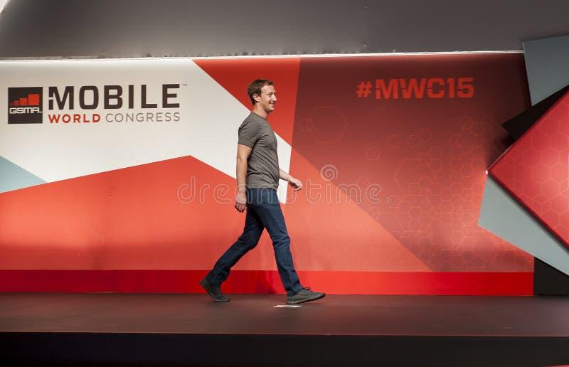 MOBILE WORLD CONGRESS 2015 - MARK ZUCKERBERG KEYNOTE royalty free stock images