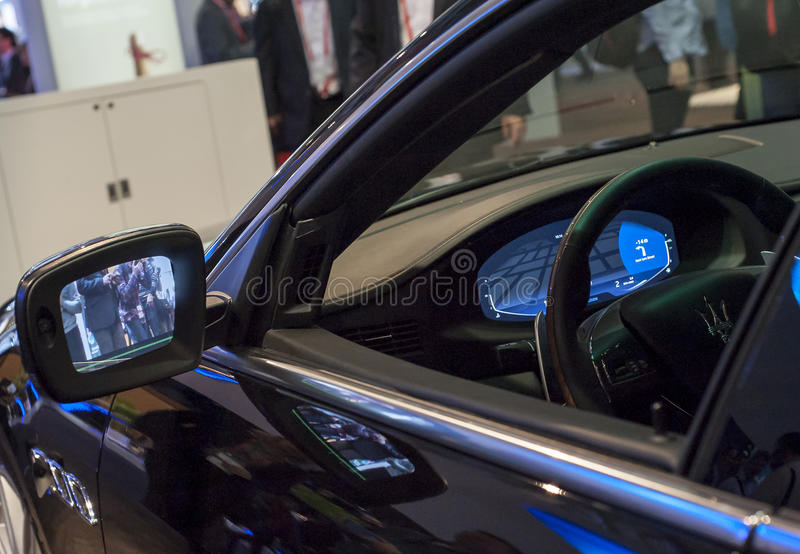 MOBILE WORLD CONGRESS 2015 - NEW CARS TECHNOLOGY royalty free stock images