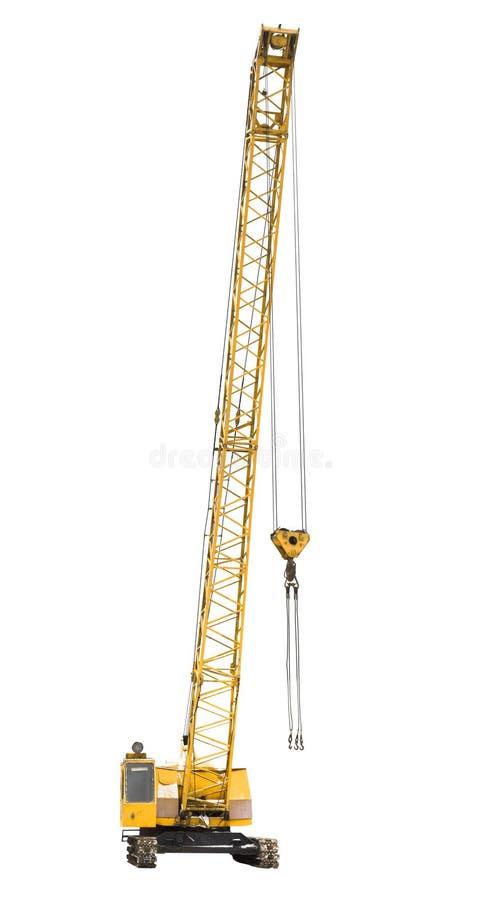 Mobile yellow crawler crane isolated on white. Background royalty free stock photo