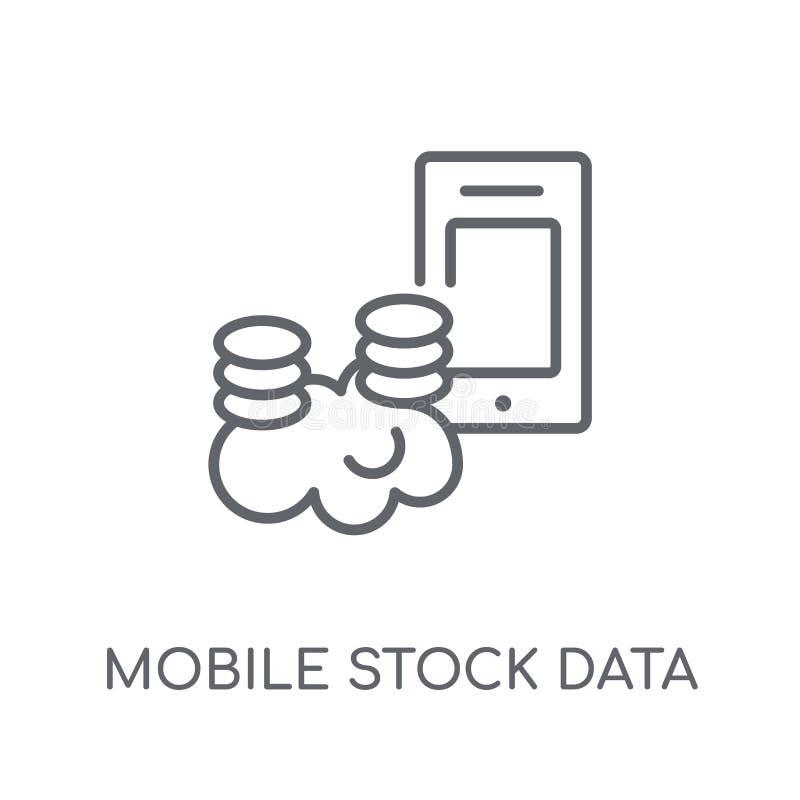 Mobilen lagerför den linjära symbolen för data Mobila materieldata för modern översikt vektor illustrationer