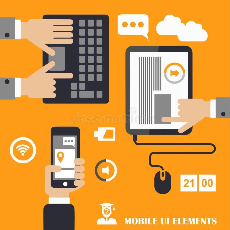 Mobilen programmerar begreppet, lägenhetdesignillustrationen, mänsklig hand med mobiltelefonen, minnestavla stock illustrationer
