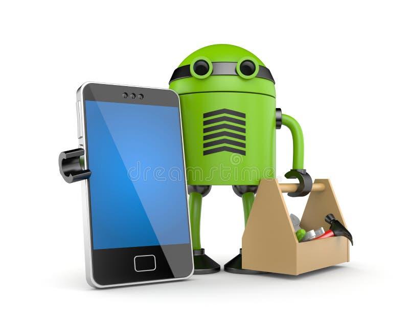 Mobilen ringer med roboten stock illustrationer