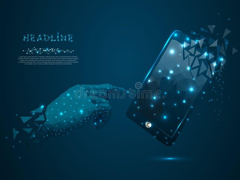 Mobilen ringer Polygonal wireframemobiltelefon för vektor, manhand som pekar i den distrahera former vektor illustrationer