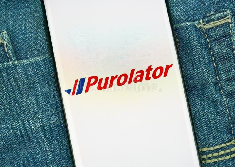Mobiler App Purolator auf Samsung s8 stockfotos