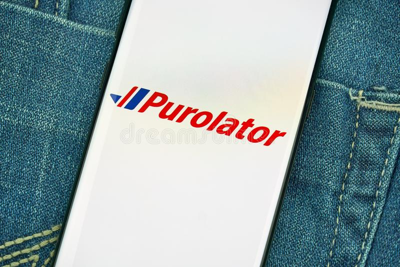 Mobiler App Purolator auf Samsung s8 lizenzfreie stockbilder