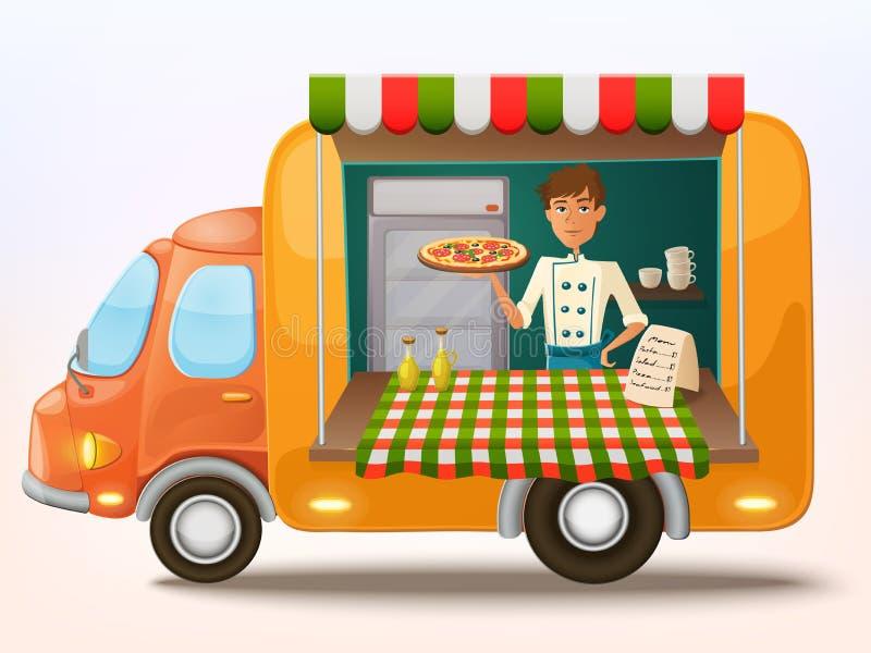 Mobiler italienischer Lebensmittel-LKW der Karikatur mit Kocher lizenzfreie abbildung