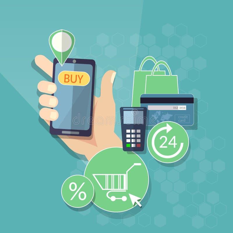 Mobiler Knopf des on-line-Einkaufse-commerce-Konzeptes Einkaufs stock abbildung
