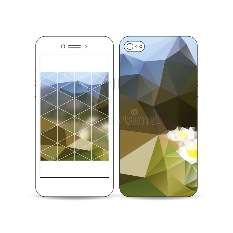 Mobiler Smartphone mit einem Beispiel des Schirmes und Abdeckung entwerfen auf Weiß RAUM FÜR BEDECKUNGSschlagzeile UND TEXT Bunte stock abbildung