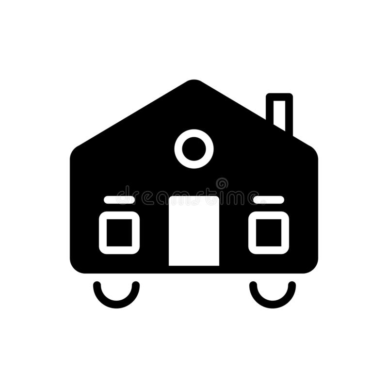 Black solid icon for Mobilhome, dynamic and mobile. Black solid icon for Mobilhome, moveable, dapper, caravan,  dynamic and mobile royalty free illustration