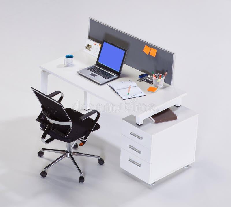 Mobiliário de escritório em um fundo branco imagens de stock