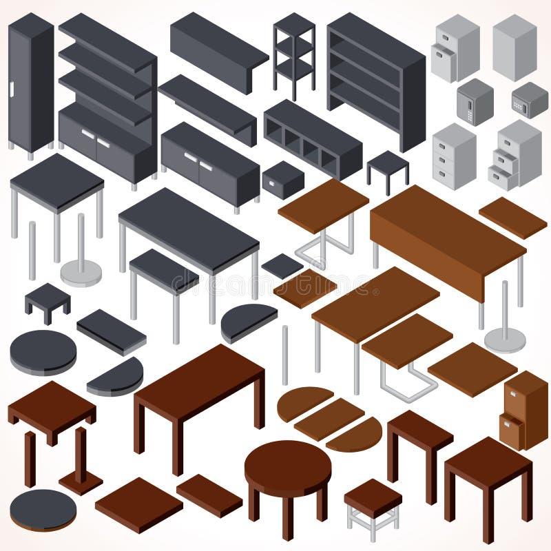 Mobiliário de escritório isométrico Coleção do vetor ilustração do vetor