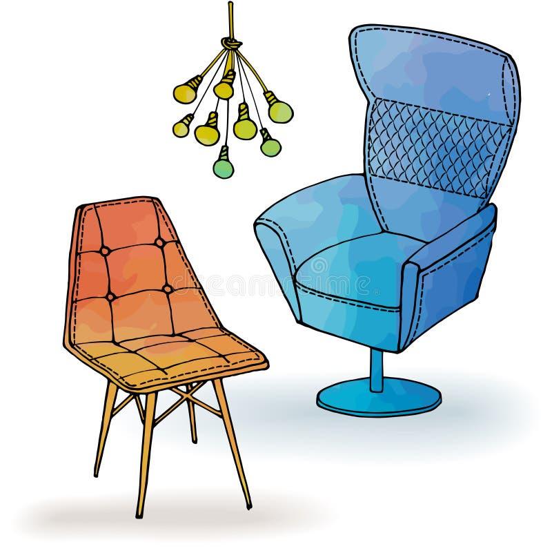 Mobiliário do wetrcolor do escritório da poltrona do sótão ilustração do vetor