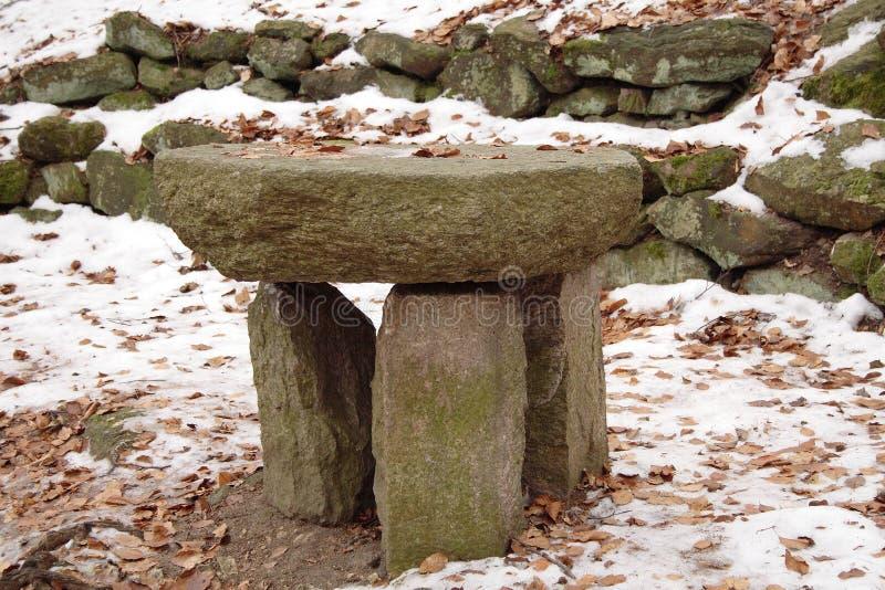 Mobilia all'aperto fatta dalla pietra immagini stock
