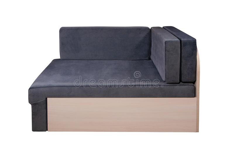Mobilia blu del sofà isolata su fondo bianco fotografie stock