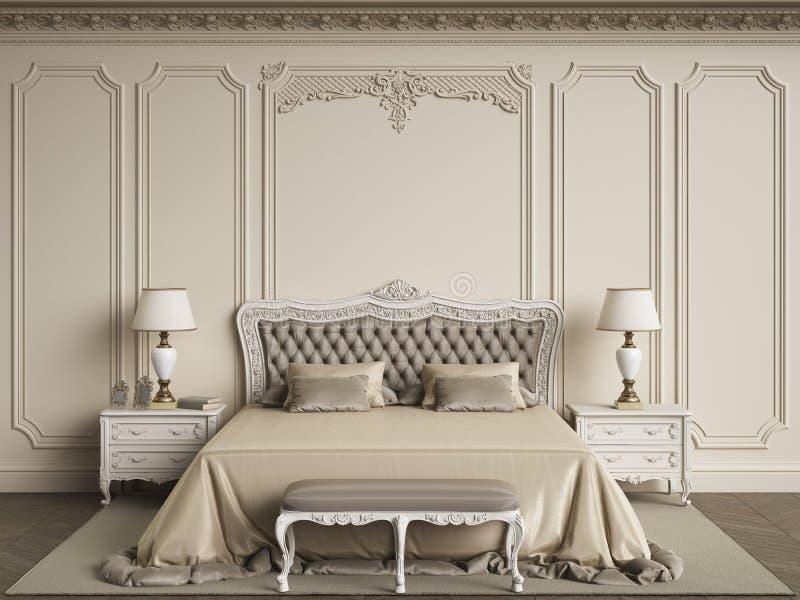 Mobilia classica della camera da letto nell'interno classico Pareti con mouldin royalty illustrazione gratis