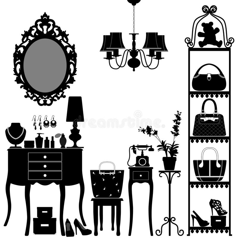 Mobilia cosmetica della stanza degli accessori della donna illustrazione vettoriale