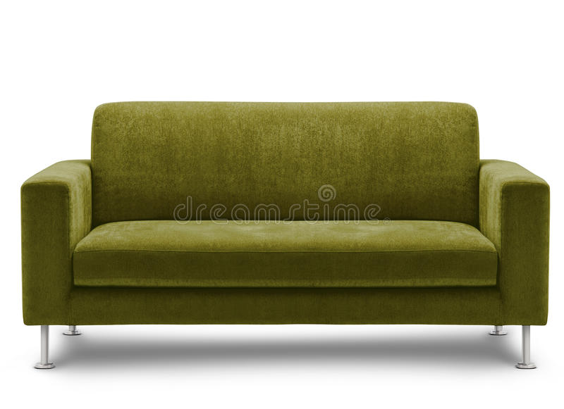 Mobilia del sofà su priorità bassa bianca immagine stock