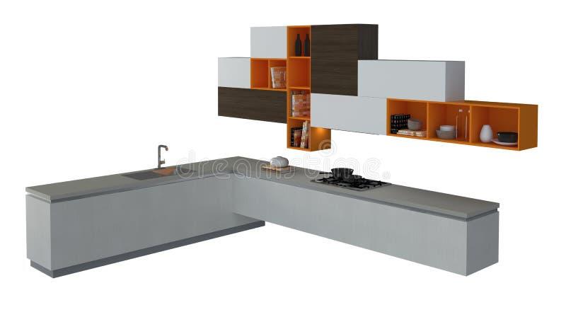 mobilia della cucina isolata sull 39 illustrazione bianca 3d