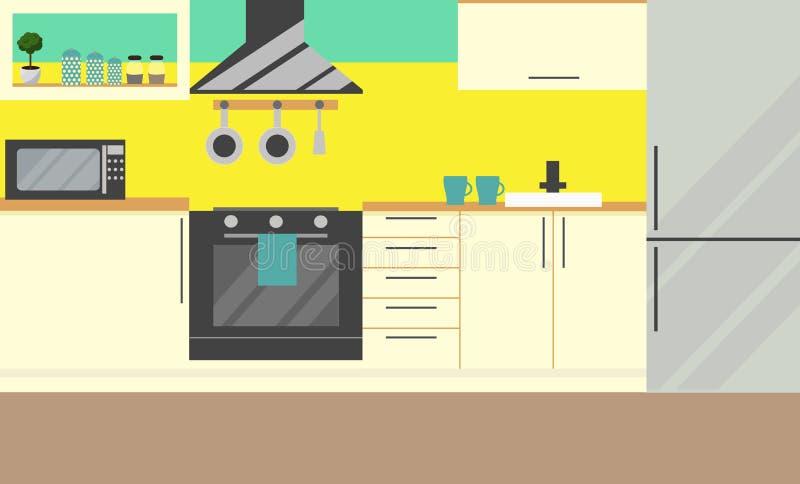 Mobilia della cucina Vettore Progettazione piana royalty illustrazione gratis