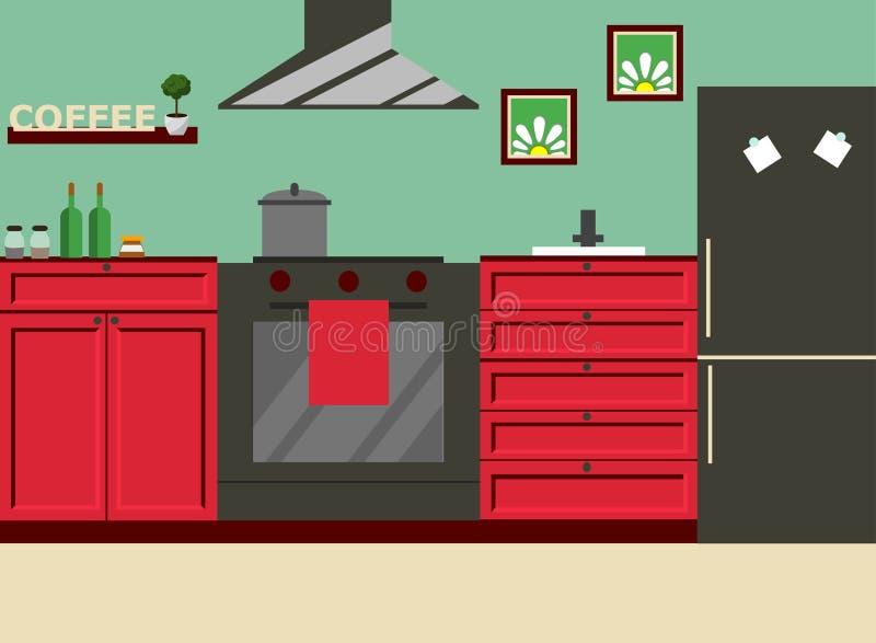 Mobilia della cucina Vettore Progettazione piana illustrazione vettoriale