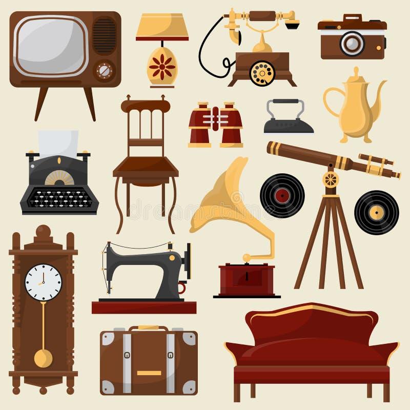 Mobilia domestica d'annata ed accessori illustrazione di stock
