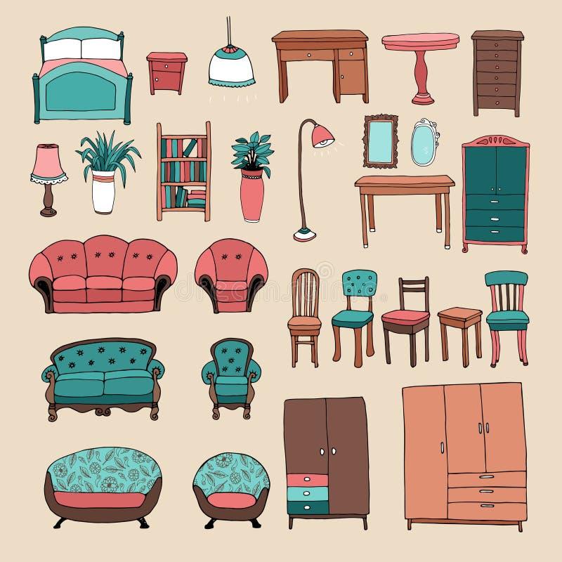 Mobilia ed icone domestiche degli accessori messe illustrazione di stock