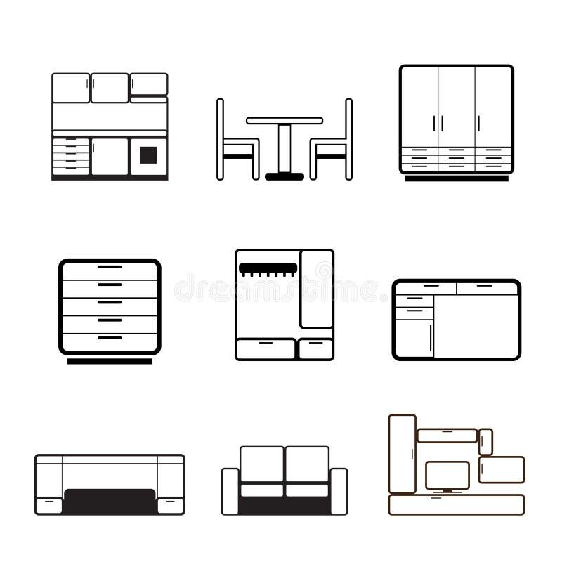 Mobilia ed icone fornenti illustrazione di stock