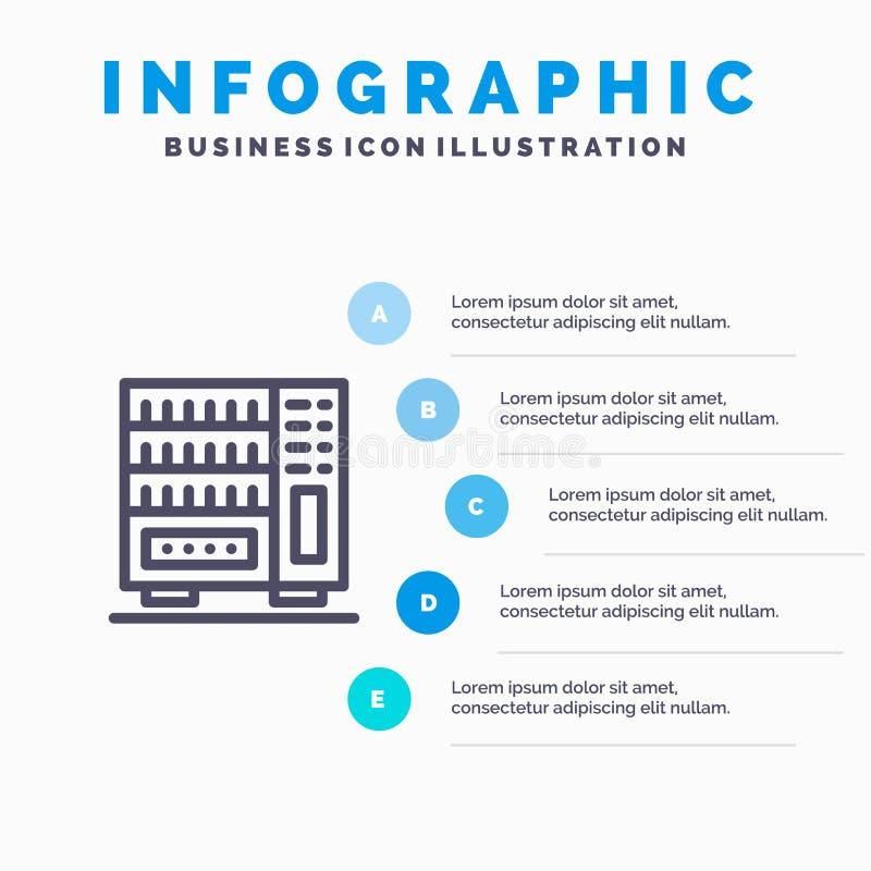 Mobilia, interna, guardaroba, punti blu del modello 5 di Infographics del cassetto Linea modello di vettore dell'icona illustrazione di stock