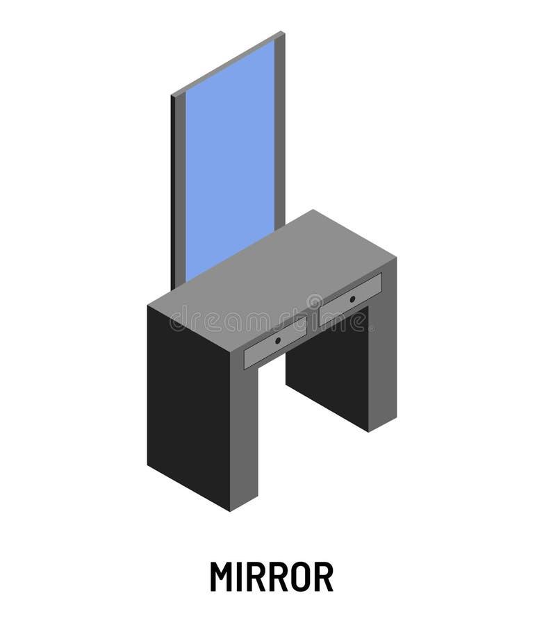 Mobilia isometrica isolata dell'oggetto della tavola di condimento e dello specchio illustrazione di stock