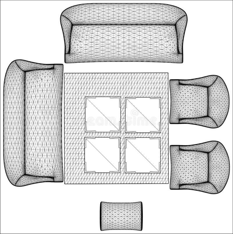 Vettore moderno 08 della mobilia del salone illustrazione vettoriale