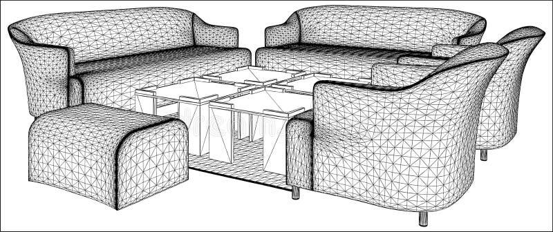 Vettore moderno 09 della mobilia del salone illustrazione vettoriale
