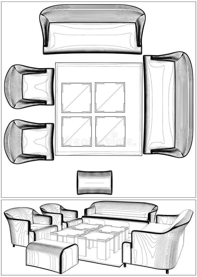 Vettore moderno 10 della mobilia del salone illustrazione vettoriale