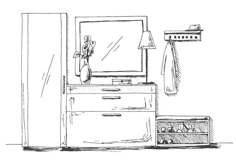 Mobilia nel corridoio Cassettone, guardaroba, gancio, specchio e decorazione Illustrazione di vettore nello stile di schizzo royalty illustrazione gratis