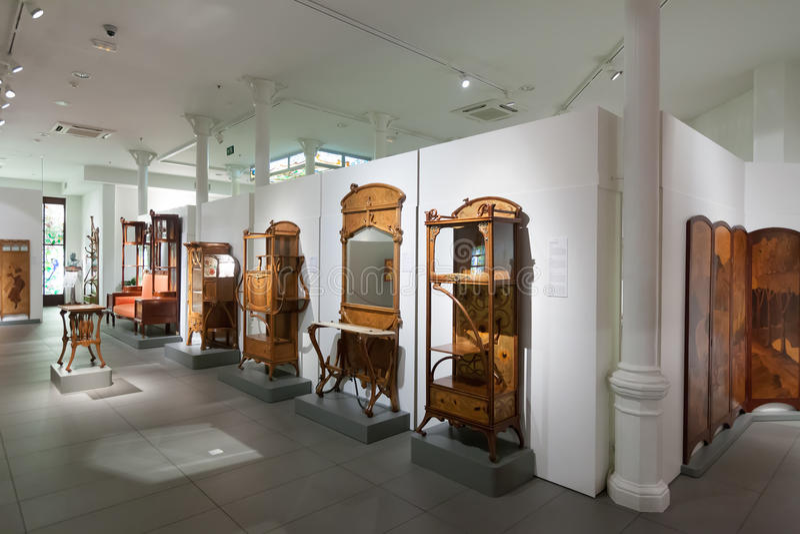 Mobilia nell'interno di Museo de Modernismo Catalan fotografia stock libera da diritti