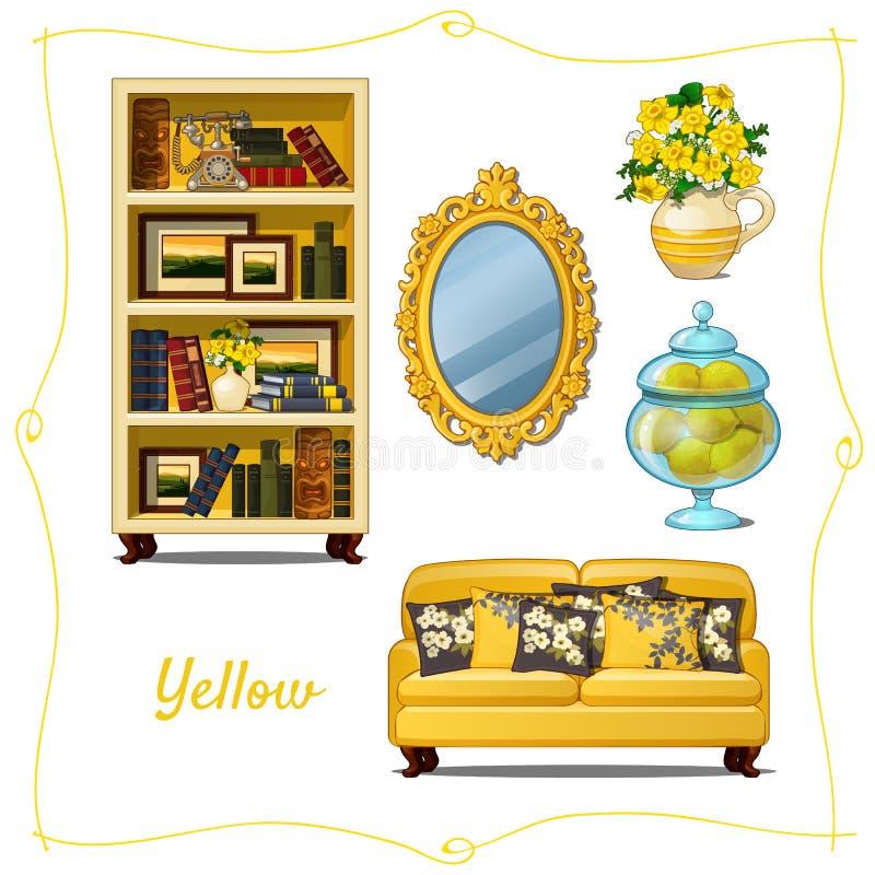 Mobilia nello stile classico, cinque oggetti royalty illustrazione gratis
