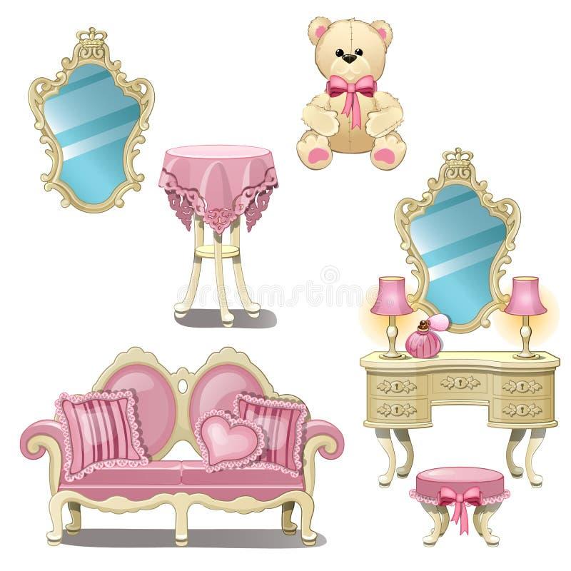 Mobilia per la stanza interna della ragazza nel colore rosa isolata su fondo bianco Illustrazione del primo piano del fumetto di  illustrazione di stock