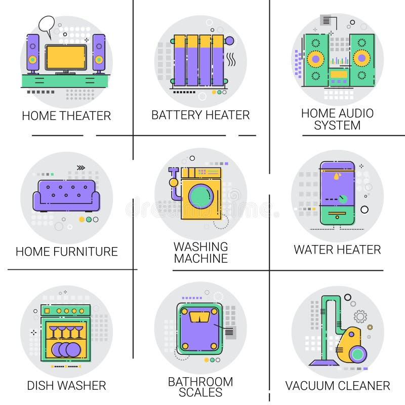 Mobilia stabilita dell'icona di Heater Battery Household House Heating dell'acqua calda, raccolta della lavatrice del piatto dell illustrazione di stock