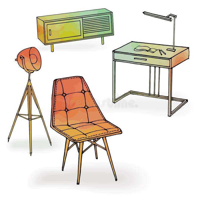 Mobiliario del rojo del offoce de la butaca del desván ilustración del vector