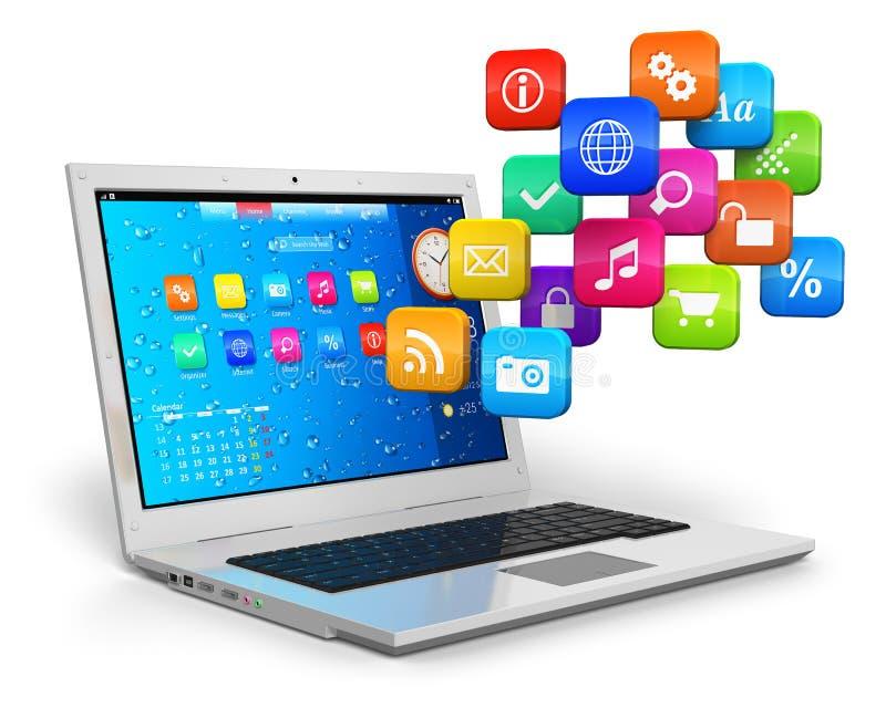 Mobilidade do computador e conceito de computação da nuvem ilustração royalty free