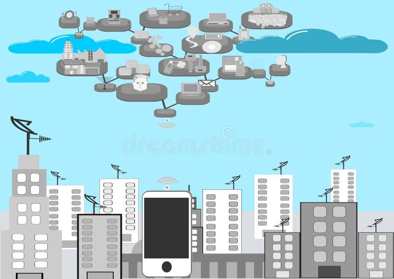 Mobilidade e conectividade inter ilustração stock