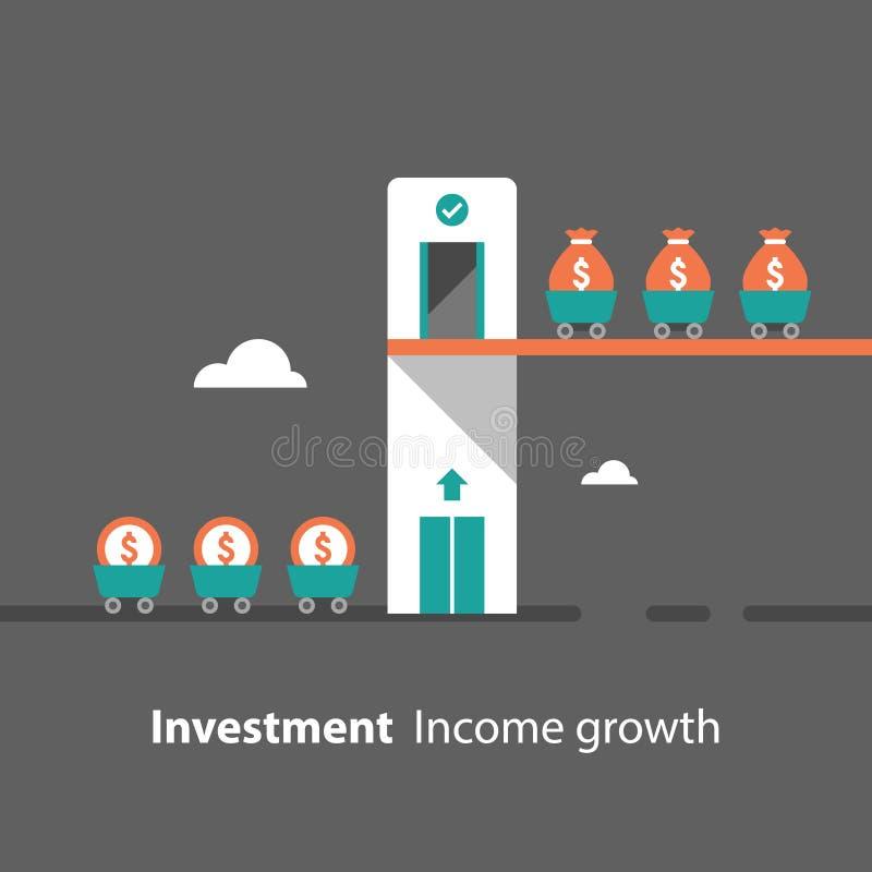 Mobiliserings van geldenconcept, terugkeer op investering, de inkomensgroei, opbrengstverhoging, financi?le productiviteit, evalu vector illustratie
