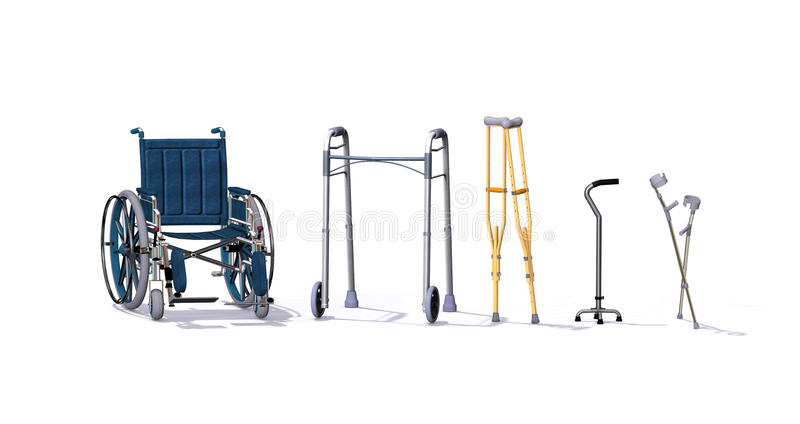 Mobility Aids. A collection of mobility aids including a wheelchair, walker, crutches, quad cane, and forearm crutches - 3d render royalty free illustration