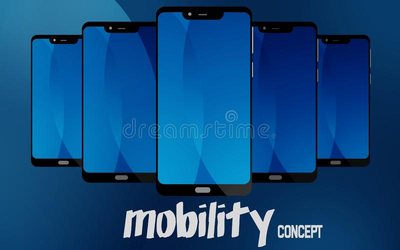 Mobility concept with blue screen smart phone. 3D rendering royalty free illustration