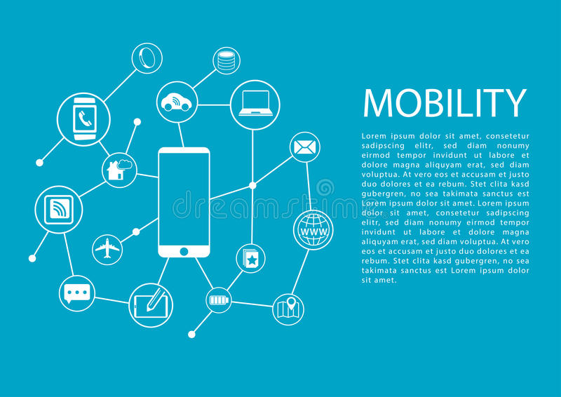 Mobility concept illustration with smart phone and connected wireless devices.  royalty free illustration