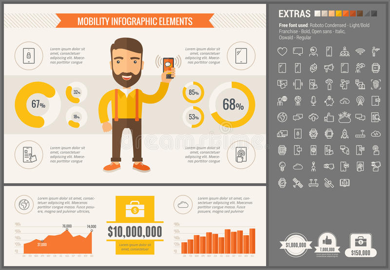 Mobility flat design Infographic Template. Mobility infographic template and elements. The template includes illustrations of hipster men and huge awesome set of stock illustration